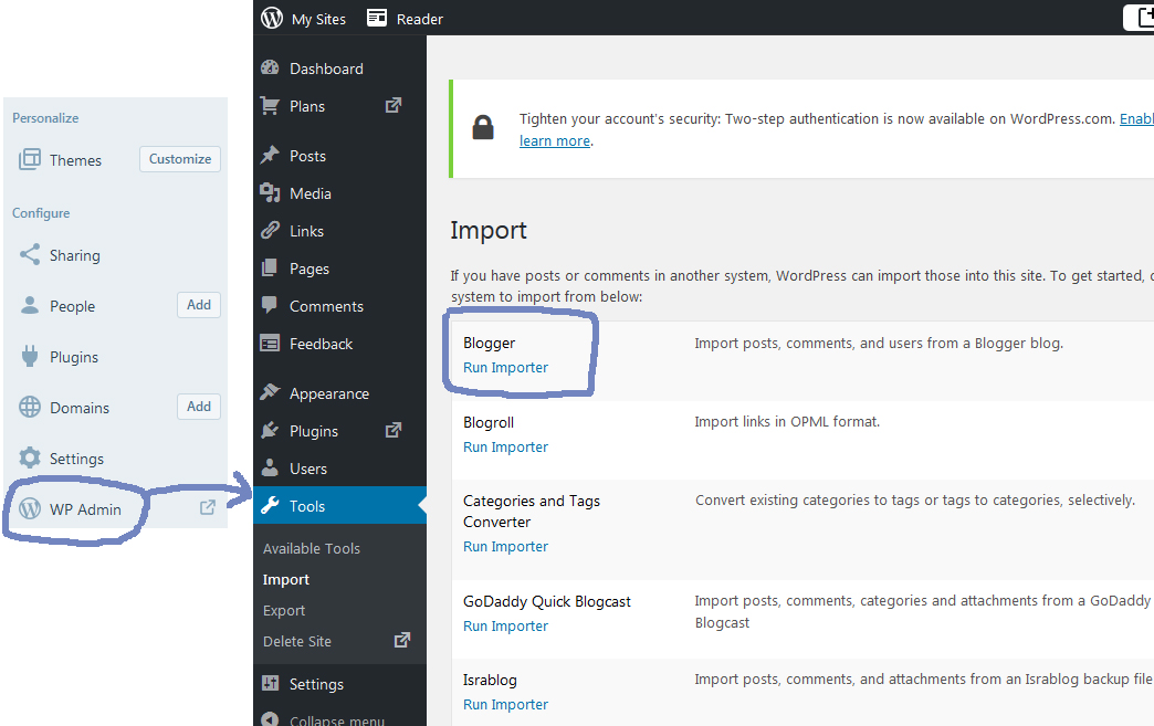 import blog to wordpress