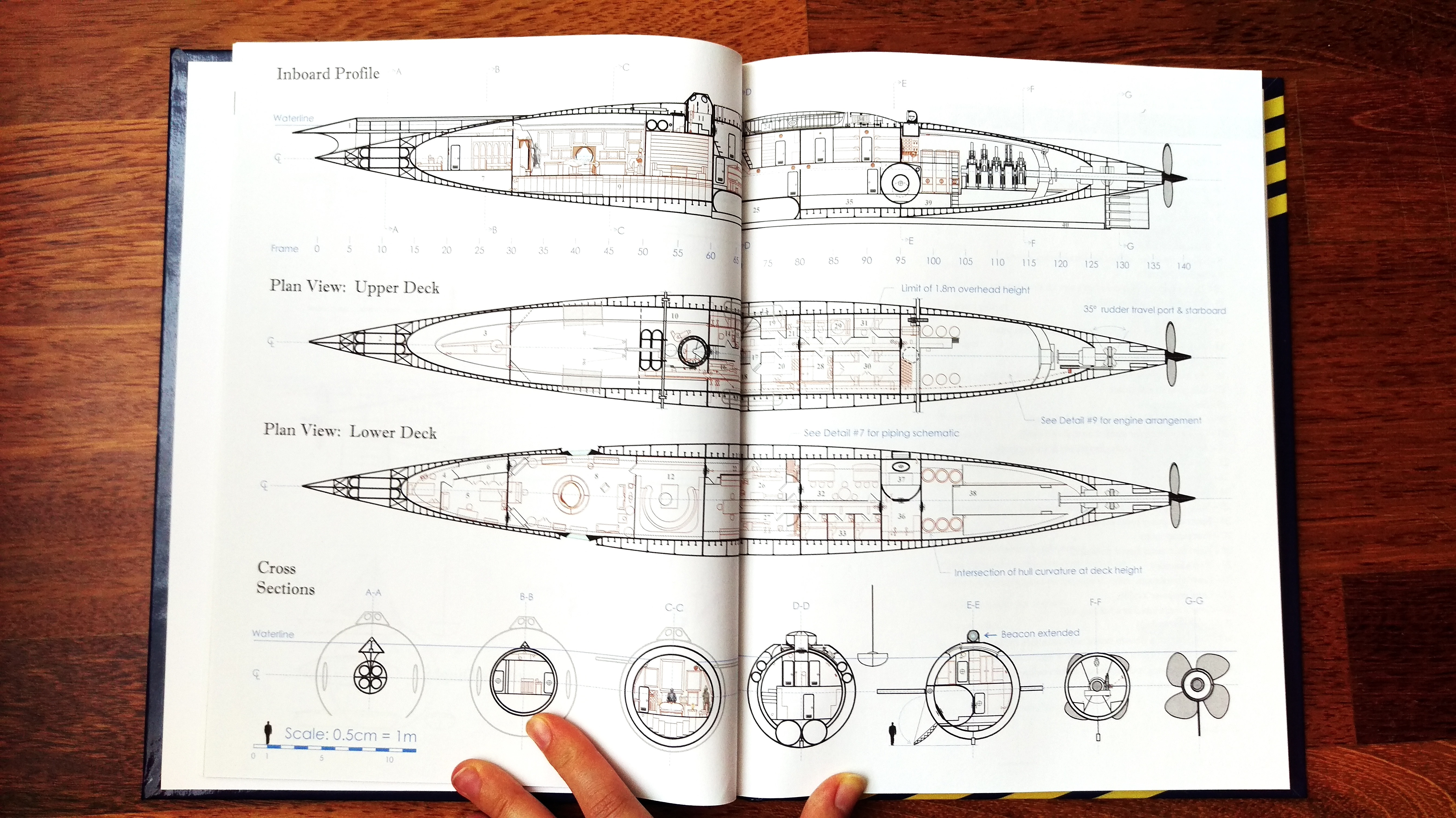 A blueprint of the various levels of the Nautilus