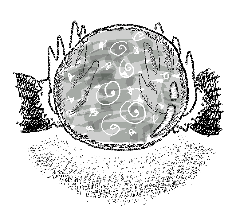 A drawing of a crystal ball with glowing things inside and hands with frilly sleeves around it
