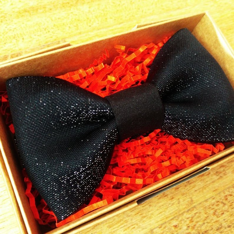 Silver glitter black bow tie with black middle