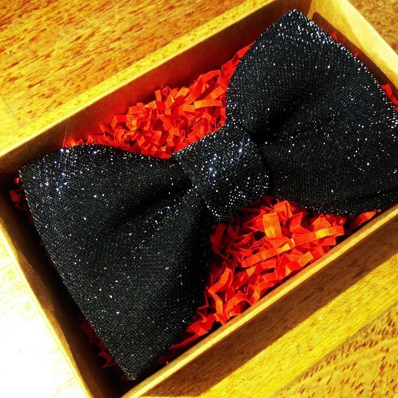 Black shimmer bow tie