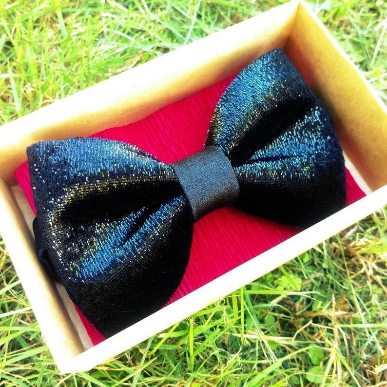 Black glitter textured bow tie